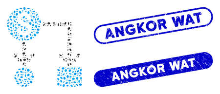 Mosaic cashflow and corroded stamp seals with Angkor Wat text. Mosaic vector cashflow is created with randomized ellipse items. Angkor Wat stamp seals use blue color, and have round rectangle shape.