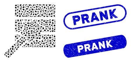 Mosaic database wizard and rubber stamp seals with Prank caption. Mosaic vector database wizard is composed with random oval pieces. Prank stamp seals use blue color, and have round rectangle shape.