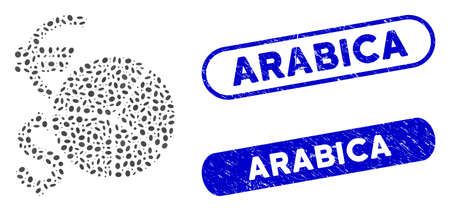 Collage currency pie chart and rubber stamp seals with Arabica phrase. Mosaic vector currency pie chart is composed with random oval elements. Arabica stamp seals use blue color,