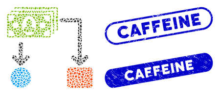 Mosaic payment diagram and distressed stamp seals with Caffeine text. Mosaic vector payment diagram is designed with random elliptic items. Caffeine stamp seals use blue color, Stock Illustratie