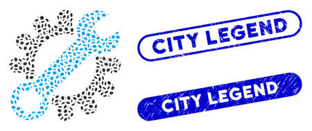 Collage service tools and grunge stamp seals with City Legend text. Mosaic vector service tools is formed with random ellipse dots. City Legend stamp seals use blue color, Illusztráció