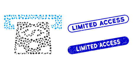 Mosaic ATM cashout and rubber stamp seals with Limited Access phrase. Mosaic vector ATM cashout is designed with random oval dots. Limited Access stamp seals use blue color,