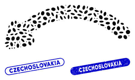Mosaic undo and corroded stamp seals with Czechoslovakia caption. Mosaic vector undo is created with random oval items. Czechoslovakia stamp seals use blue color, and have round rectangle shape.