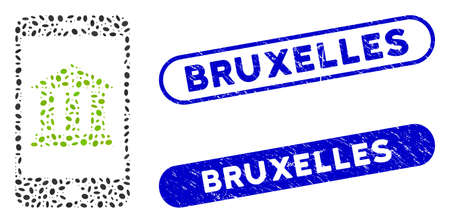 Mosaic mobile bank and grunge stamp seals with Bruxelles phrase. Mosaic vector mobile bank is created with randomized ellipse dots. Bruxelles stamp seals use blue color,