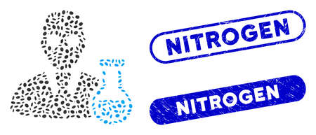 Mosaic chemist and corroded stamp watermarks with Nitrogen text. Mosaic vector chemist is designed with random elliptic parts. Nitrogen stamp seals use blue color, and have round rectangle shape.