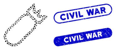 Mosaic bomb and distressed stamp watermarks with Civil War phrase. Mosaic vector bomb is composed with scattered oval pieces. Civil War stamp seals use blue color, and have round rectangle shape. Ilustração