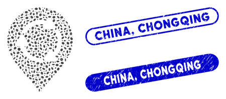 Mosaic rotation map marker and rubber stamp seals with China, Chongqing phrase. Mosaic vector rotation map marker is formed with scattered ellipse elements. China,