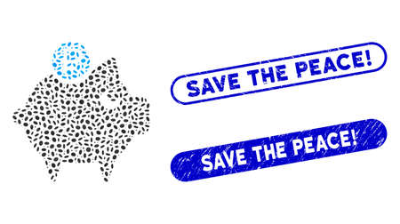 Mosaic rouble piggy bank and grunge stamp seals with Save the Peace! caption. Mosaic vector rouble piggy bank is formed with randomized ellipse spots. Save the Peace! stamp seals use blue color,