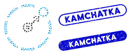 Mosaic circular area border and distressed stamp seals with Kamchatka caption. Mosaic vector circular area border is designed with scattered elliptic parts. Kamchatka stamp seals use blue color,
