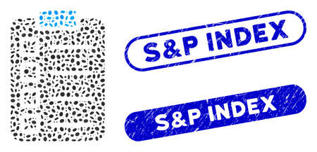 Mosaic test tasks and grunge stamp seals with S&P Index text. Mosaic vector test tasks is designed with scattered oval pieces. S&P Index stamp seals use blue color, and have round rectangle shape.