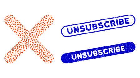 Mosaic delete and rubber stamp seals with Unsubscribe text. Mosaic vector delete is formed with scattered ellipse items. Unsubscribe seals use blue color, and have round rectangle shape.