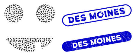 Mosaic witch smiley and distressed stamp watermarks with Des Moines text. Mosaic vector witch smiley is formed with randomized elliptic dots. Des Moines stamp seals use blue color, Ilustracja
