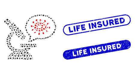 Collage microbe zooming and rubber stamp seals with Life Insured text. Mosaic vector microbe zooming is composed with randomized elliptic items. Life Insured stamp seals use blue color,