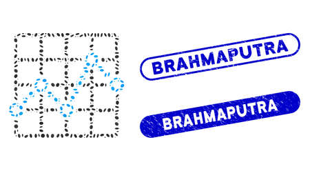 Mosaic line plot and distressed stamp seals with Brahmaputra phrase. Mosaic vector line plot is composed with randomized ellipse pieces. Brahmaputra seals use blue color,