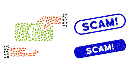 Mosaic rebate and corroded stamp seals with Scam! caption. Mosaic vector rebate is formed with randomized elliptic items. Scam! stamps use blue color, and have round rectangle shape. Stock Illustratie
