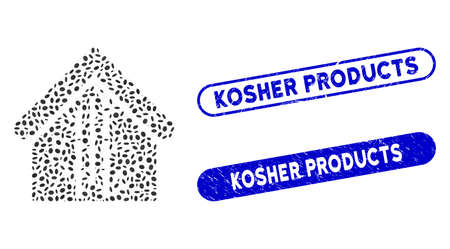 Mosaic bamboo house and rubber stamp seals with Kosher Products phrase. Mosaic vector bamboo house is formed with randomized oval elements. Kosher Products seals use blue color, Çizim