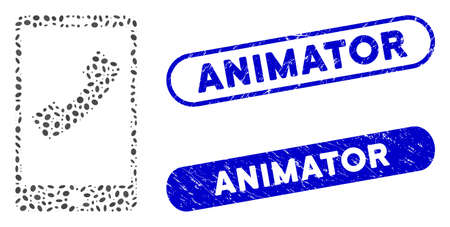 Collage cell phone and distressed stamp seals with Animator caption. Mosaic vector cell phone is composed with random oval dots. Animator stamp seals use blue color, and have round rectangle shape.