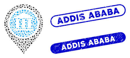 Mosaic bank map pointer and distressed stamp seals with Addis Ababa phrase. Mosaic vector bank map pointer is designed with randomized oval items. Addis Ababa stamp seals use blue color,