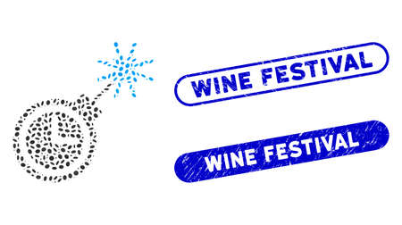 Mosaic time bomb and distressed stamp seals with Wine Festival phrase. Mosaic vector time bomb is formed with scattered oval pieces. Wine Festival stamp seals use blue color,