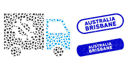 Mosaic equipment truck and distressed stamp seals with Australia Brisbane text. Mosaic vector equipment truck is designed with scattered oval parts. Australia Brisbane stamp seals use blue color,
