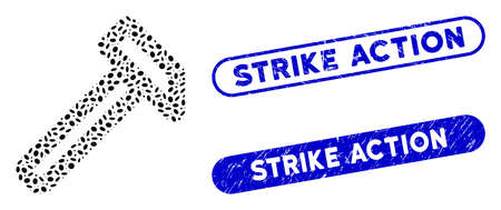 Mosaic hammer and rubber stamp watermarks with Strike Action caption. Mosaic vector hammer is designed with randomized ellipse items. Strike Action stamp seals use blue color,