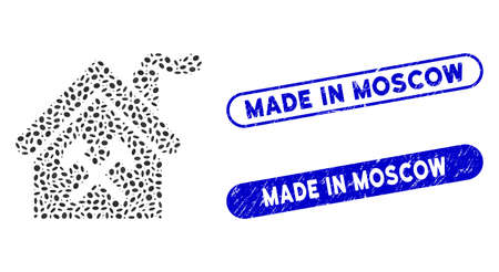 Mosaic forge building and grunge stamp seals with Made in Moscow caption. Mosaic vector forge building is composed with scattered ellipse dots. Made in Moscow stamp seals use blue color,