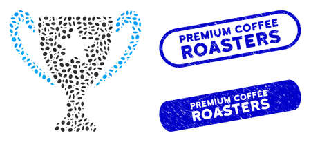 Mosaic trophy cup and grunge stamp watermarks with Premium Coffee Roasters text. Mosaic vector trophy cup is composed with scattered oval parts. Premium Coffee Roasters stamp seals use blue color,