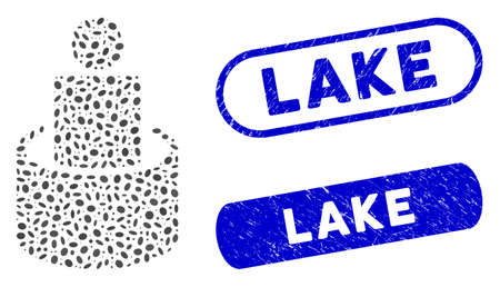 Mosaic man isolation and distressed stamp watermarks with Lake text. Mosaic vector man isolation is formed with random oval parts. Lake seals use blue color, and have round rectangle shape. 矢量图像