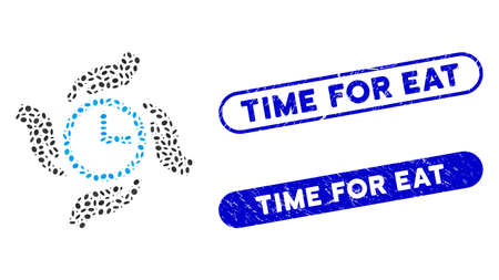 Mosaic time care and distressed stamp seals with Time for Eat text. Mosaic vector time care is formed with randomized ellipse parts. Time for Eat stamp seals use blue color, Ilustrace