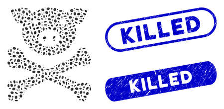 Mosaic pig death and rubber stamp seals with Killed phrase. Mosaic vector pig death is created with random oval dots. Killed seals use blue color, and have round rectangle shape.
