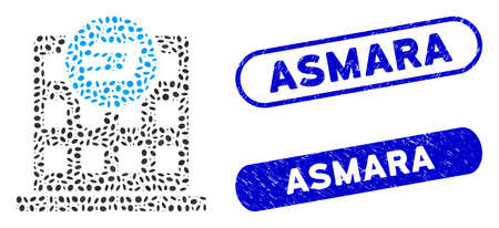 Mosaic Dash company building and corroded stamp seals with Asmara caption. Mosaic vector Dash company building is designed with scattered ellipse pieces. Asmara stamp seals use blue color, Иллюстрация
