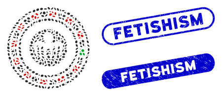 Mosaic spectre casino and grunge stamp seals with Fetishism phrase. Mosaic vector spectre casino is formed with randomized oval parts. Fetishism seals use blue color, and have round rectangle shape.