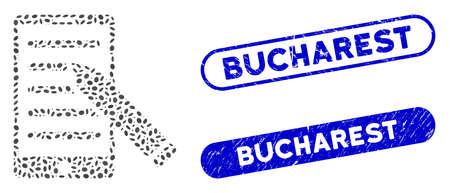 Mosaic mobile edit pencil and rubber stamp seals with Bucharest caption. Mosaic vector mobile edit pencil is designed with scattered elliptic elements. Bucharest stamp seals use blue color, Ilustração