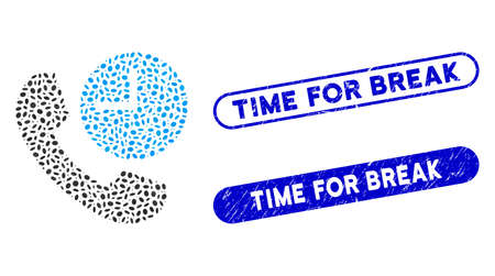 Mosaic phone time and rubber stamp seals with Time for Break caption. Mosaic vector phone time is designed with random oval elements. Time for Break seals use blue color,
