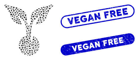 Collage seed sprout and rubber stamp seals with Vegan Free phrase. Mosaic vector seed sprout is created with randomized oval dots. Vegan Free stamp seals use blue color,