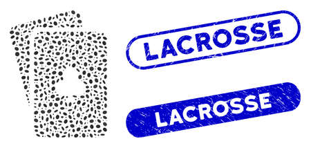 Collage clubs playing cards and distressed stamp seals with Lacrosse caption. Mosaic vector clubs playing cards is composed with scattered elliptic items. Lacrosse stamp seals use blue color,