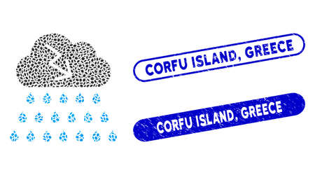 Collage thunderstorm rain cloud and corroded stamp seals with Corfu Island, Greece text. Mosaic vector thunderstorm rain cloud is composed with scattered elliptic dots. Corfu Island,