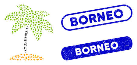 Mosaic island tropic palm and corroded stamp seals with Borneo caption. Mosaic vector island tropic palm is composed with random elliptic items. Borneo stamp seals use blue color,