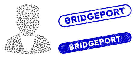 Mosaic medic and grunge stamp seals with Bridgeport caption. Mosaic vector medic is created with random oval parts. Bridgeport seals use blue color, and have round rectangle shape.