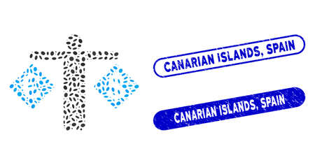 Mosaic person compare Dollar and Euro and corroded stamp seals with Canarian Islands, Spain caption. Mosaic vector person compare Dollar and Euro is designed with scattered ellipse dots. Иллюстрация