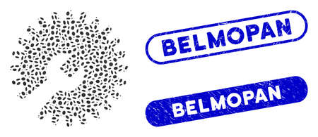 Mosaic gear tools and rubber stamp seals with Belmopan text. Mosaic vector gear tools is created with random ellipse pieces. Belmopan stamp seals use blue color, and have round rectangle shape.