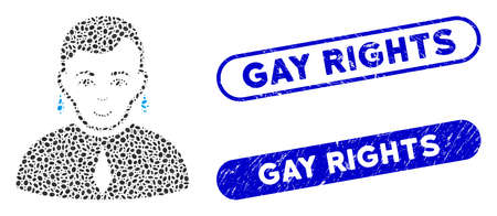 Mosaic and distressed stamp seals with Gay Rights text. Mosaic vector is formed with randomized oval spots. Gay Rights stamp seals use blue color, and have round rectangle shape.