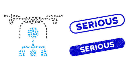 Mosaic drone distribution and corroded stamp watermarks with Serious text. Mosaic vector drone distribution is designed with scattered oval spots. Serious stamp seals use blue color, Illustration