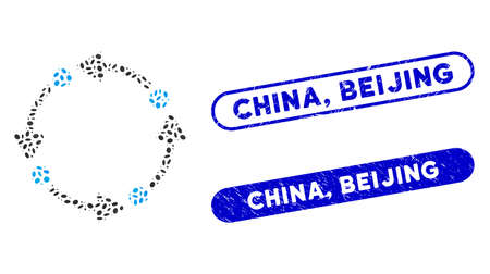 Mosaic rotate and rubber stamp seals with China, Beijing caption. Mosaic vector rotate is created with randomized elliptic parts. China, Beijing stamp seals use blue color,