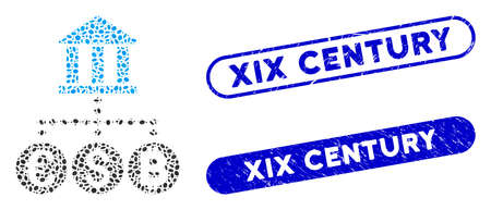 Mosaic bank currency and grunge stamp seals with XIX Century caption. Mosaic vector bank currency is created with random ellipse parts. XIX Century stamp seals use blue color,