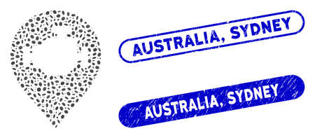 Mosaic engine marker and corroded stamp watermarks with Australia, Sydney phrase. Mosaic vector engine marker is formed with randomized oval pieces. Australia, Sydney stamp seals use blue color,