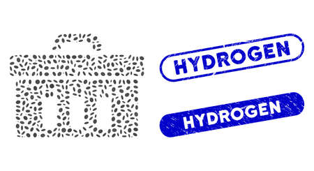 Mosaic analysis case and corroded stamp seals with Hydrogen caption. Mosaic vector analysis case is formed with scattered ellipse dots. Hydrogen stamp seals use blue color, Иллюстрация