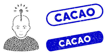 Mosaic optical neural interface and corroded stamp seals with Cacao caption. Mosaic vector optical neural interface is designed with scattered oval dots. Cacao stamp seals use blue color, Иллюстрация