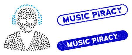 Mosaic support operator and rubber stamp seals with Music Piracy caption. Mosaic vector support operator is formed with scattered ellipse pieces. Music Piracy stamp seals use blue color,