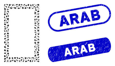 Mosaic contour rectangle and rubber stamp seals with Arab phrase. Mosaic vector contour rectangle is created with scattered ellipse items. Arab stamp seals use blue color,